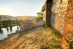 View on Prague cityscape and Vltava river in late afternoon sun Royalty Free Stock Photos