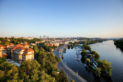 View on Prague cityscape and Vltava river in late afternoon sun Royalty Free Stock Photography