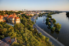 View on Prague cityscape and Vltava river in late afternoon sun Stock Photography