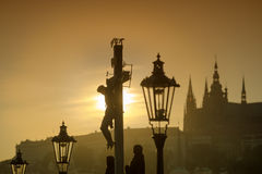 View of Prague in evening from Charles bridge Stock Photography