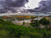 View of prague in fantastic leaden clouds royalty free stock photo