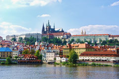 View on the Prague gothic Castle above River Vltava Royalty Free Stock Image