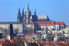 View on Prague gothic Castle above River Vltava, Czech Republic Stock Photos