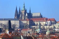 View on Prague gothic Castle above River Vltava, Czech Republic Stock Photos
