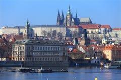 View on Prague gothic Castle above River Vltava, Czech Republic Stock Image