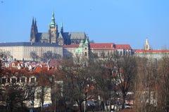 View on Prague gothic Castle above River Vltava, Czech Republic Royalty Free Stock Photos