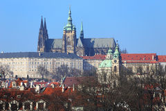 View on Prague gothic Castle above River Vltava, Czech Republic Royalty Free Stock Photography