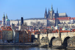 View on Prague gothic Castle with the Charles Bridge, Czech Republic Stock Images