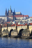 View on Prague gothic Castle with the Charles Bridge, Czech Republic Royalty Free Stock Photography