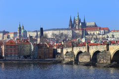 View on Prague gothic Castle with the Charles Bridge, Czech Republic Royalty Free Stock Photos