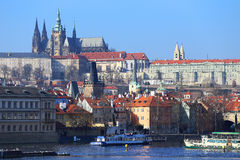 View on Prague gothic Castle with the Charles Bridge, Czech Republic Royalty Free Stock Image