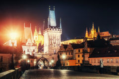 The View on Prague gothic Castle with Charles Bridge Royalty Free Stock Images