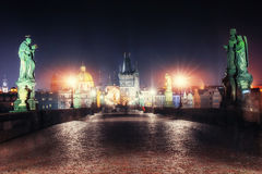 The View on Prague gothic Castle with Charles Bridge Stock Image