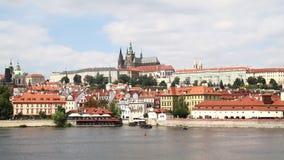 View of Prague lesser town over Vltava river stock video footage