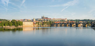 View of Prague from Moldava river - Prague- Czech Republic Royalty Free Stock Images