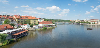 View of Prague from Moldava river - Prague- Czech Republic Royalty Free Stock Photography