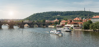 View of Prague from Moldava river - Prague- Czech Republic. PRAGUE - AUGUST 5: View from the Charles Bridge  of the banks of the Vltava River with its typical Stock Images