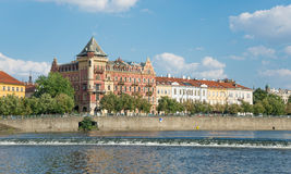 View of Prague from Moldava river - Prague- Czech Republic Royalty Free Stock Image