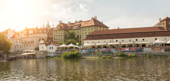 View of Prague from Moldava river - Prague- Czech Republic Stock Images