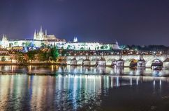 View of Prague at night stock images
