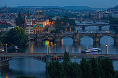 View of Prague. At night: river Vltava and bridges Royalty Free Stock Photography