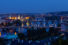 View of Prague at night. River Vltava and bridges Royalty Free Stock Images