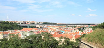 View on Prague with Nuselsky Bridge Royalty Free Stock Photography
