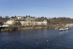 The View on the Prague Office of Government above River Vltava, Czech Republic Stock Images
