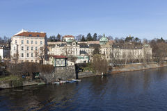 The View on the Prague Office of Government above River Vltava, Czech Republic Stock Photos