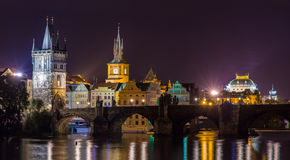 View of Prague Old Town behind Charles Bridge Royalty Free Stock Image