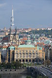 View of Prague - Old Town Hall, Rudolfinum, Zizkov Stock Photo