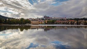 View of Prague old town and St Vitus Cathedral stock video