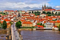 View of Prague over Charles Bridge Stock Image