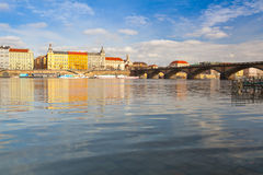 View on the Prague panorama with Palacky bridge at sunset. Prague,Czech Republic - March 20 ,2017: View on the Prague panorama with Palacky bridge at sunset.The Royalty Free Stock Photo