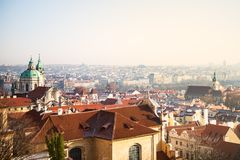 View on Prague panorama with red roofs and historic architecture stock images