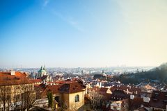 View on Prague panorama with red roofs and historic architecture royalty free stock photo