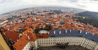 View of Prague from the Prague Castle on a day Stock Images