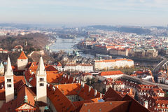 View of Prague from the Prague Castle on a day Stock Photos