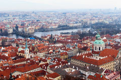 View of Prague from the Prague Castle on a day Royalty Free Stock Images