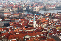 View of Prague from the Prague Castle on a day Stock Photography