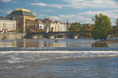 View of the Prague River Vltava and the Manesuv Bridge Royalty Free Stock Image