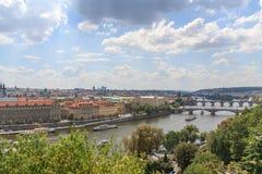View on Prague bridges on river Vltava stock photos