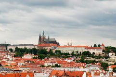 View on Prague`s roof and St. Vitus Cathedral Royalty Free Stock Images