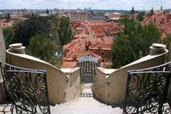 View on Prague from Small Furstenberg garden Stock Photography
