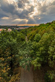 View of Prague taken from Nuselsky bridge on sunset captures typical local architecture from aerial perspective Royalty Free Stock Photo