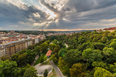 View of Prague taken from Nuselsky bridge on sunset captures typical local architecture from aerial perspective Stock Photography
