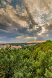 View of Prague taken from Nuselsky bridge on sunset captures typical local architecture from aerial perspective Royalty Free Stock Images