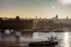 View  Prague town city and vitava river  Praha  Cityscape Stock Image