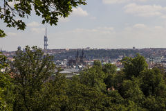View of Prague with Tv Tower and Tyn Church Stock Photo