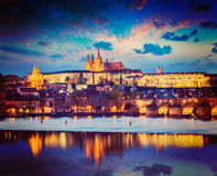 View of Prague in twilight Royalty Free Stock Photos